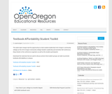 Textbook Affordability Student Toolkit