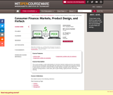 Consumer Finance: Markets, Product Design, and FinTech (Spring 2018)