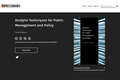 Analytic Techniques for Public Management and Policy