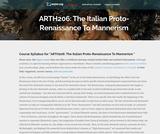 The Italian Proto-Renaissance To Mannerism