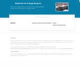 Arithmetic for College Students